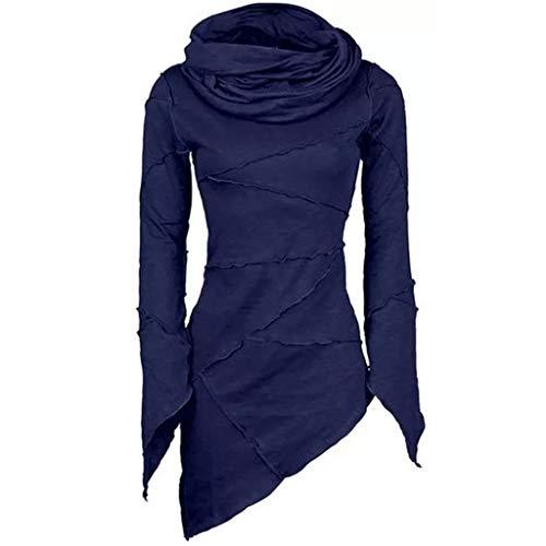 LUGOW Blusen Damen Slim Fit Langarmshirts Blouses Rollkragen-Kragen mit Asymmetrischen Ärmeln und Schrägem Saum Langarm T-Shirt Tops Sweatshirt Damenmode Günstig