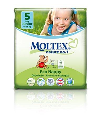 26 unidades MOLTEX Nature No1 pañales ecológicos bio oso pañales bebés JUNIOR Gr 5 (11-25 kg)