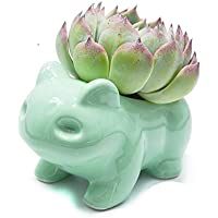 Maceta de bricolaje lindo arte de cerámica macetas arte decorativo de cerámica florero verde