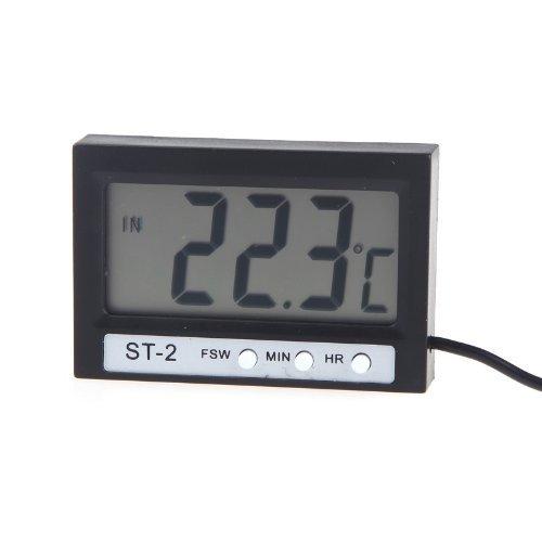 Digital Thermometer - TOOGOO(R)Mini LCD Digital Thermometer Celsius Temperatur Messinstrument Innen Aussen Uhr mit Sonde ST-2