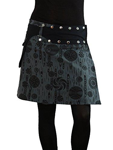 PUREWONDER Damen Wickelrock Rock mit Tasche Knöpfen sk117 Grau Einheitsgröße verstellbar