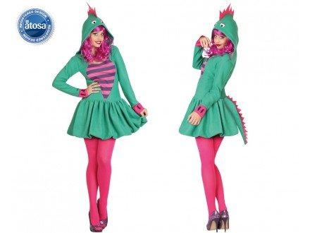 Atosa - 26978 - Disfraz Dragon Verde- talla XL - Color Verde para Mujer Adulto