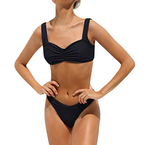 hmtitt Damen Bikini Set, Sommer Schwimmen Kostüm Gepolsterter Badeanzug Monokini Bikini Push Up BH Sexy Damen Strap Bandeau Brasilianische Bademode Beachwear Badeanzüge Größe