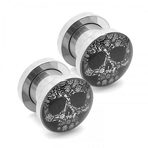 2 Flesh Tunnel Estensore Plug Piercing Orecchio Tappo Logo Testa del Cranio Gotico Teschio 10 mm