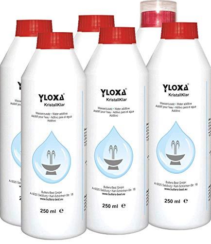 Yloxa KRISTALLKLAR - Wasserzusatzkonzentrat für Brunnen, Wasserwände, -säulen, -kaskaden und Vernebler im Innen- und Außenbereich - 6 x 250 ml Flasche