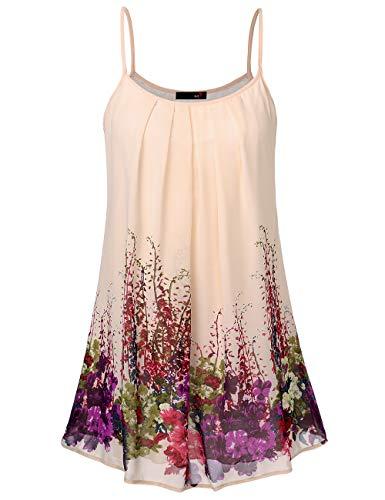 DJT FASHION Blusenkleid Damen Muster Casual Spaghetti Chiffonkleid Blumen Sommer Minikleid Strand A-Linie Blumenkleid Aprikose Floral S - Sommer-spaghetti-bügel-kleid