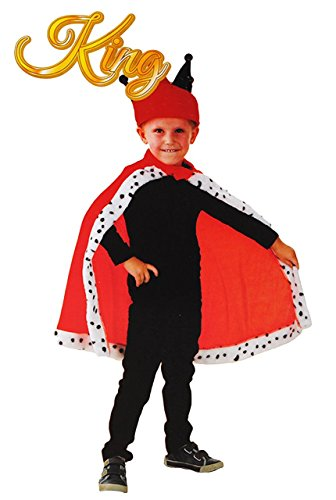 Königin Und König Kostüm Karneval - Unbekannt Kostüm König / roter Umhang - 4 bis 8 Jahre - Gr. 110 - 140 - Karneval / Königin - für Kinder Kind Kinderkostüm Fasching + Halloween - Mädchen Jungen - Könige..