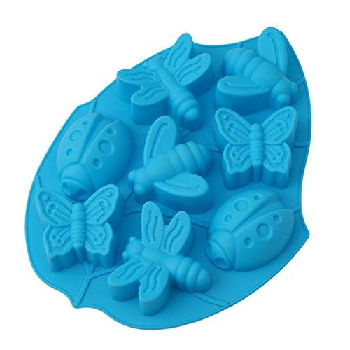 HENGSONG Silikon Backform Muffinform Muffin Kuchen Gelee Dessert Insekt Motive, Schmetterlinge, Libellen, Käfer, Bienen (Blau)