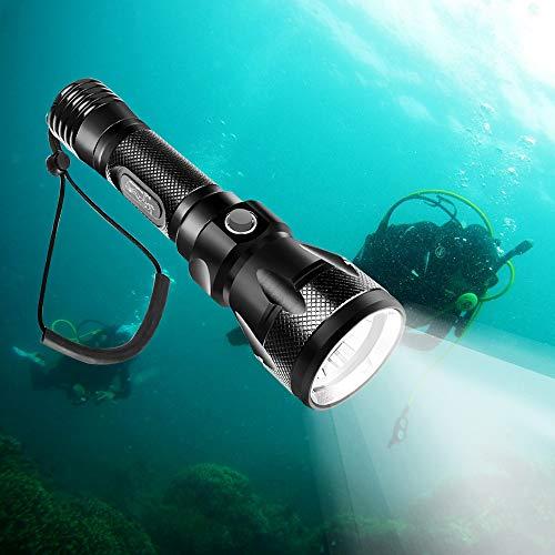 TurnRaise 1200 Lúmenes Linterna de Submarinismo, LED Profesional de Buceo 100M