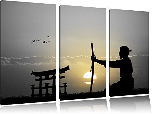 alter Samurai-Meister vor Horizont B&W Detail 3-Teiler Leinwandbild 120x80 Bild auf Leinwand, XXL riesige Bilder fertig gerahmt mit Keilrahmen, Kunstdruck auf Wandbild mit Rahmen, gänstiger als Gemälde oder Ölbild, kein Poster oder Plakat -