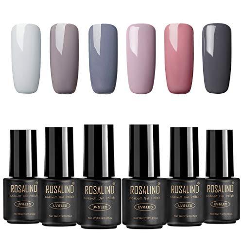 ROSALIND Nagellack Gel Gellack UV Semi-permanent Soak Off Varnish Pastell Lack 6 Farben Hellgrau Dunkelgrau Dunkler Akt Maniküre 7ml