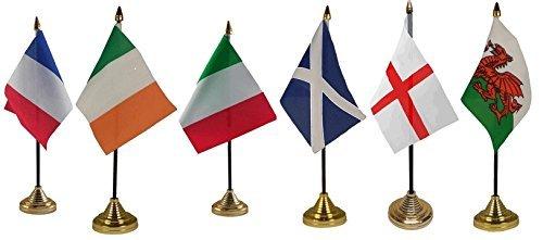 6x sechs 6Nations Rugby England Schottland Irland Wales Irland Italien 10,2x 15,2cm Desktop Tisch Flaggen mit Gold Grundlagen ideal für Sport Vereine Kneipen Schulen Büro