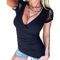 Camiseta cómoda de Manga Corta para Mujer Camisa Casual Camisa con Cuello en V Profunda Ropa de Mujer de Moda
