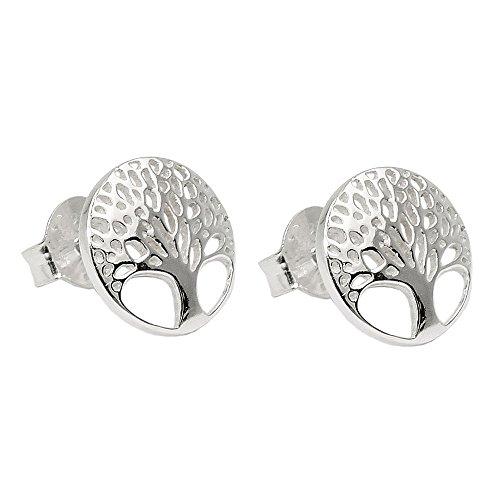 Stecker 10mm Lebensbaum filigran glänzend Silber 925