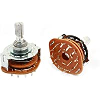 2Pcs 3P4T 3 Pole 4 Position 6mm Shaft Dia Band Selector Rotary Switch