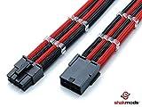 shakmods 8Pin ATX CPU Motherboard schwarz & rot heatshrinkless Ärmeln Verlängerungskabel mit 2Kämme-30cm