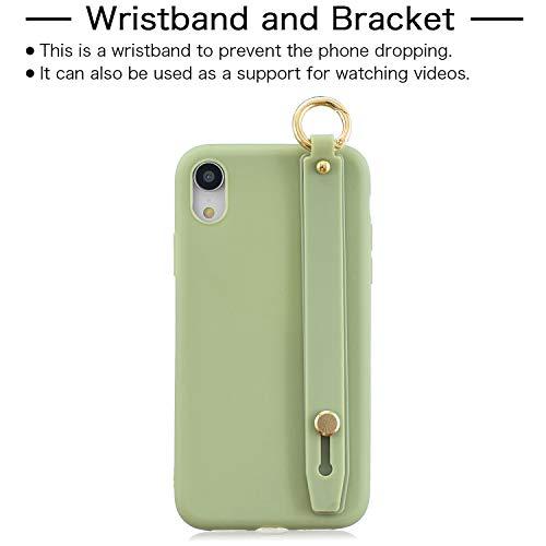 Kostüm Grüne Bohnen - ETbotu Für iPhone XS max einfache einfarbige schicke Handgelenk Seil Stehen matt TPU Anti-Scratch rutschfeste schutzhülle zurück Fall 10 Beans Green 10 Bohnen grün