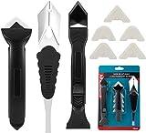 INTVN Raschietto in silicone, 3 in 1 Raschietto per rimozione silicone kit di strumenti per sigillatura in silicone, con 4 cuscinetti sostituibili per bagno, cucina, camera e telai
