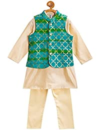 Campana Boys Kurta Set with Jacket - Gold & Green (4-5 Years)