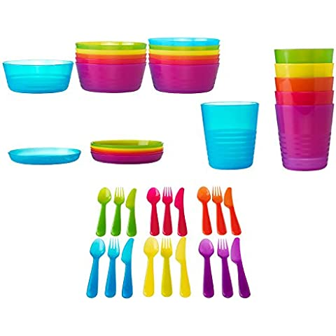 IKEA 42pezzi Set Posate Kalas bambini plastica senza BPA, Ciotola, piatto, bicchiere, colorato