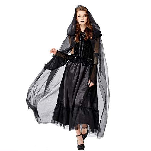 Supertong Damen Vintage Kleid Einfarbig Mit Kapuze Vampir Hexe Teufel Cosplay Kleid Halloween Kostüm Mittelalter Gothic Retro Umhang Abendkleid Farbband, Ärmel Vierteiliges Set