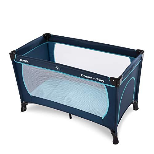 Hauck Kindereisebett Dream N Play Plus inklusive Matratze, seitlichem Reißverschluss, und Transporttasche, ab Geburt, tragbar, faltbar und klappbar, blau (navy aqua) 120 x 60 cm - 12