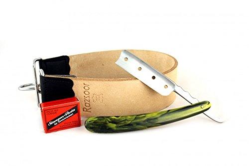 RAZZOOR 3-teiliges Rasiermesser Set Cool 4 - Außergewöhnliches Rasiermesser mit rostfreier Edelstahl-Klinge - Streichriemen aus echtem Büffelleder, Streichriemenpaste aus Solingen