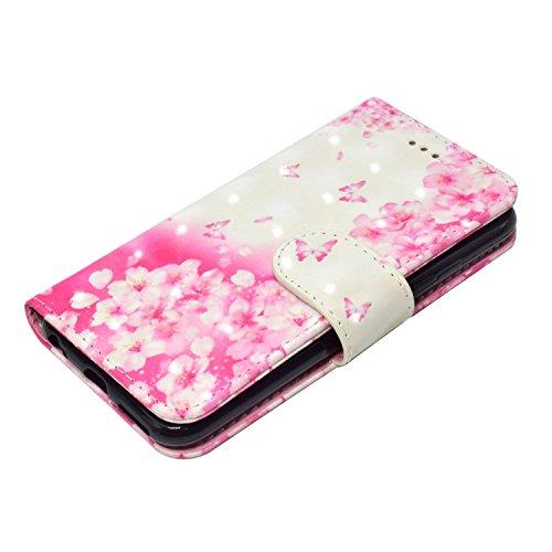 GrandEver iPhone 6 Plus/iPhone 6S Plus Hülle Glitzer 3D Ledertasche Schutzhülle Bling Vintage Muster Lederhülle mit Kartenfach und Handschlaufe Handyhülle Scratch Ledercase Handytasche Schale Umschlag Rosa Blumen