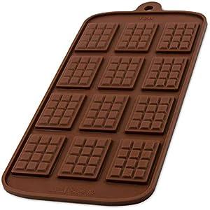 BlueFox Silikonform mit 12 Schokotafeln für Schokolade, Bonbon, Praline, Hundeleckerli, Süßigkeiten, Eiswürfel, New-Year, Naschen, Deko fürTorte, Kuchen, Geschenkidee, Farbe: Braun