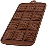 Blue Fox Silikonform mit 12 Schokotafeln für Schokolade, Bonbon, Praline, Hundeleckerli, Süßigkeiten, Eiswürfel, New-Year, Naschen, Deko fürTorte, Kuchen, Geschenkidee, Farbe: Braun