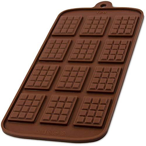 BlueFox Silikonform mit 12 Schokotafeln für Schokolade, Bonbon, Praline, Hundeleckerli, Süßigkeiten, Eiswürfel, New-Year, Naschen, Deko fürTorte, Kuchen, Geschenkidee, Farbe: Braun -