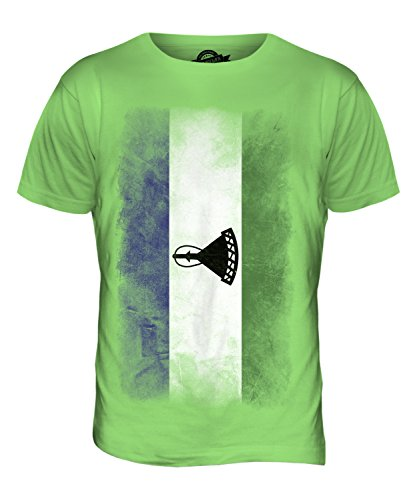 CandyMix Lesotho Verblichen Flagge Herren T Shirt Limettengrün
