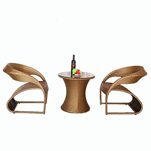 Veranda Möbel Set 3 Stück PE Rattan Wicker Stühle Kissen Mit Tisch Garten Gartenmöbel Sets Balkon Balkon Tisch Und Stühle,Brass