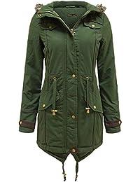 Neuer Frauen Pelz-Haube Fish Tail Hem Lange Khaki Parka Padded Jacket Coats 38-54
