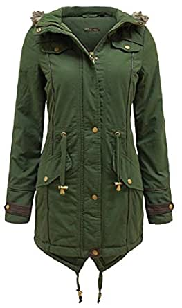 Chocolate Pickle ® Damen Winter Baumwolle Fell Kapuze Parka-Mantel