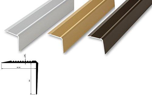 (12,86€/m) Treppenwinkel 53x53x900mm Treppen-Kantenprofil Stufen-Profil Alu-Winkel Kantenschutz(900 mm (gebohrt inkl. Montageset), silber) - Innenmaß 50 x 50 mm