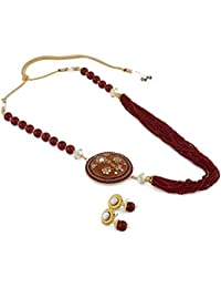 Aradhya Designer Handmade Mehroon Onyx Beads With Kundan Work Side Pendant Necklace For Girls And Women