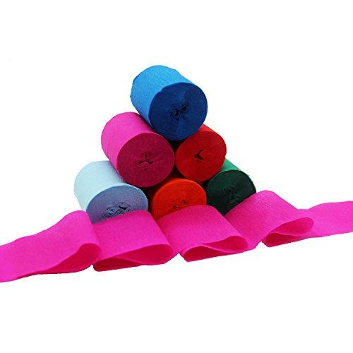 12 Rolls 6 colori Crepe Paper Streamers per varie decorazioni party party festa di nozze, 1,77 pollici x 29,6 piedi