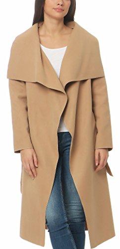 Malito Damen Mantel lang mit Wasserfall-Schnitt | Trenchcoat mit Gürtel | weicher Dufflecoat | Parka - Jacke 3040 (Camel)