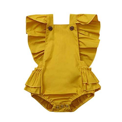 Livoral Baby Born Kleidung Set Neugeborenes Baby Mädchen ärmellose Feste Strampler Rüschen Bodysuit Kleidung Outfits(Gelb,80)