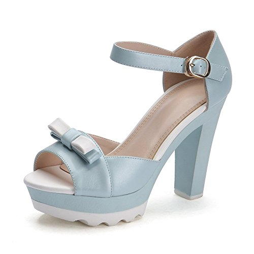 Adee nœuds Mesdames couleurs assorties en cuir Sandales Bleu