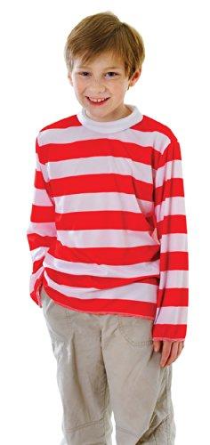 Rouge / Blanc rayé Pull - Enfants Costume de déguisement - Moyen - 122cm à 134cm