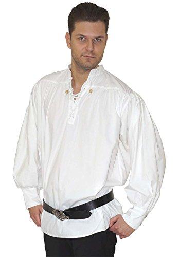 Männer Kostüm Clever - MAYLYNN Mittelalter Hemd Piratenhemd Caytan Baumwolle, weiß Gr. M