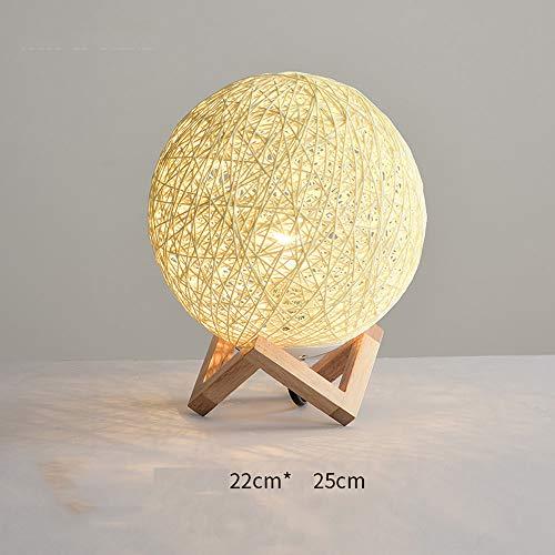YZPTD Lámpara de sobremesa de ratán, lámpara de mesa de madera maciza, mesa de noche decorativa, mesa de luz, dormitorio, pantalla, sala, comedor, cocina (Color : F)