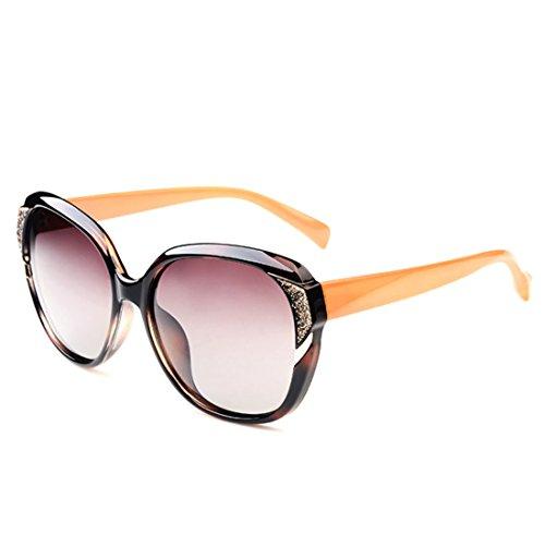 QQBL Weiblicher Sonnenschutz Mode Trend Elegant Harz PC Polarisierte UV400 Sonnenbrille,Brown