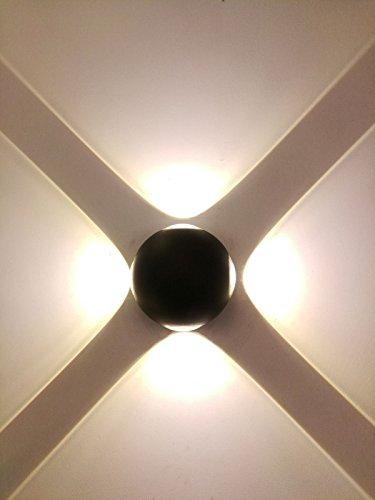 HRCxue Wandleuchten,LED Wandlampe,Außenleuchte Wandleuchte,Wandleuchte Küche - Leselampe Wand,Oben Unten Lampen Spotlicht, Wandleuchte für Schlafzimmer, Wohnzimmer,Korridor Outdoor wasserdichte Aluminium Wandleuchten vier helle Zimmer Flur Gang runde Licht wohnen LED Wandleuchte dekorative Leuchte Warmweiß 4 w