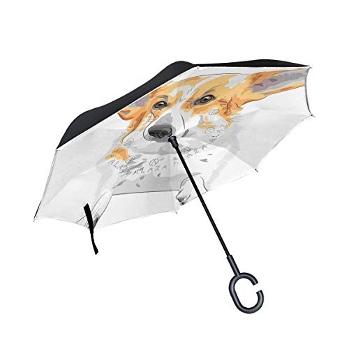 rodde Flash Reverse Windproof mit C-förmigen Griff Double Layer Inverted für Regen Outdoor-Regenschirme Dog Smiling
