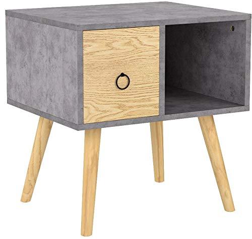 WOLTU Nachttisch 2er Set Nachtkommode Nachtschrank Beistelltisch Sofatisch, mit Schublade und Offenem Fach, mit Beinen, Holz, Grau, 48x40x50cm(BxTxH), TSR72gr-2