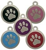 Personalised Engraved 32mm Stainless Steel Pet ID Tag Dog Paw Design