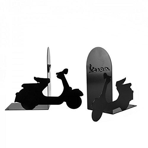 Vespa 2 dekorative Buchstützen in schwarz aus Metall mit original Vespa Logo - Zwei Buchstützen